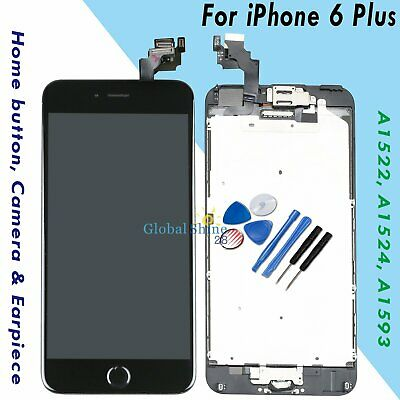For iPhone 6 Plus LCD Replacement Touch Display Screen Home Button Camera Black