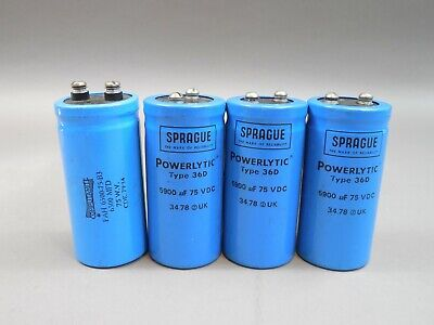 Mixed Lot of 4 Sprague 36D 5900uF 75V Electrolytic Capacitors 36D592G075BC2A