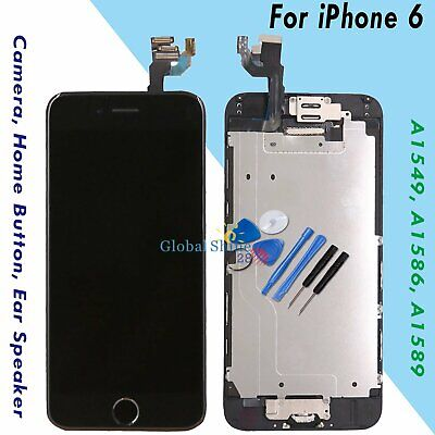 For iPhone 6 Screen Replacement LCD Display Touch Digitizer Black Button Camera