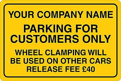 Customers Only Parking or Car Clamped Rigid Board Sign