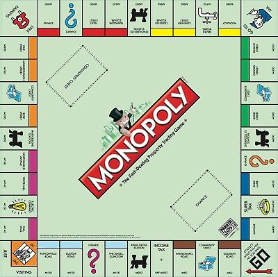 Replacement Monopoly Board 2019 Classic Game Board & Instructions Compact Foldup