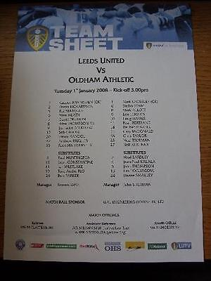 01/01/2008 Colour Teamsheet: Leeds United v Oldham Athletic  . No obvious faults