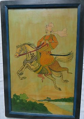 MUGHAL ROYAL PORTRAIT framed late INDIAN Art Decor Painting Wall art Watercolor