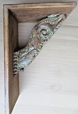 Architectural Carved Wood bracket reclaimed wall decor display utility rack 1x