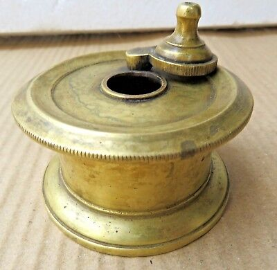 Antique Inkwell Ink Pot Solid Brass Desk Table Dip Pen Tool Collectible India-2