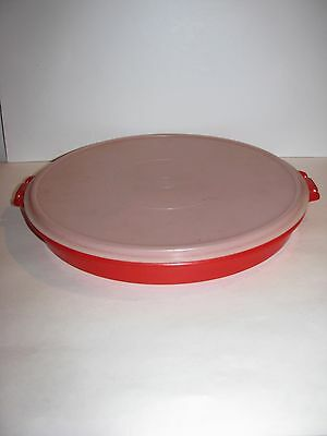 "Tupperware, Divided Storage Container & Lid, 6 Section, 13"" Diameter, Red Bottom"