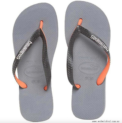 97f03ead5d15 HAVAIANAS NEW MENS THONGS FLIP FLOPS TOP MIX Grey Black Orange Surf Logo