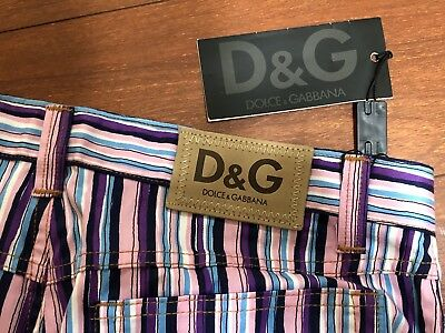 Dolce & Gabbana D&G Pants Jeans Cotton Straight Leg Striped Pink Blue S33 Italy