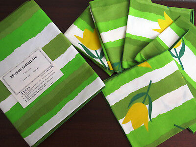 1950s 7 Piece Tablecloth 4 Napkins and 2 Runners UNUSED Green Yellow Tulips NOS