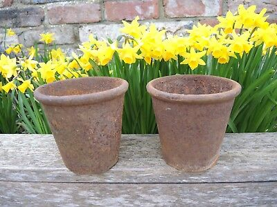 Pair of Unusual  Antique  Cast Iron Plant Pots Garden Planters 20 cm high( 418b)