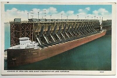 1939 Postcard Great Lakes Loading Ore Freighter CW McCullough on Lake Superior