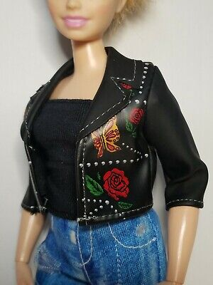 Curvy Barbie Black Faux Leather Jacket ~ Mattel Fashionistas Fashion Clothes