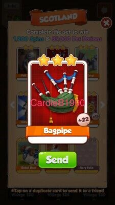 X1 Bagpipe Coin Master trading card !!!Super Fast Delivery!!!