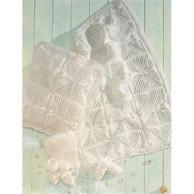 Lace & Bobble Pram Cover/Blanket + Cushion Cover, Bonnet, Booties + Mittens Set