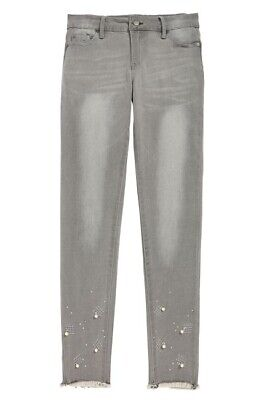 Tractr 2C888-JADC Big Girl Embellished Raw Hem Crop Jeans /Gray /12.