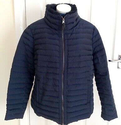 Jasper Conran - Navy Blue Faux Fur Collar, Feather Down Quilted Coat, Size 18