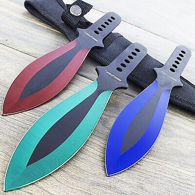 "3 PC NINJA 9"" RAINBOW THROWING KNIVES SET w/ SHEATH Kunai Combat Tactical Knife"