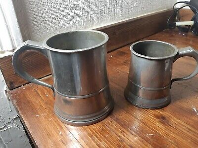 """2 x Antique Gaskell & Chambers Half Pint & Pint Pewter Tankards 4.5 & 3.5"""" q24"""