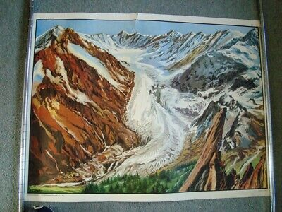 Vintage French Double Sided Educational School Poster MDI  GLACIER / MOUNTAINS