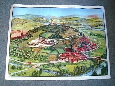 Vintage French Double Sided Educational School Poster MDI  THE HILL THE PLATEAU
