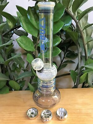 "Best! 10"" Glass Water Bong Glass Downstem with Bowl 3 Part Grinder"