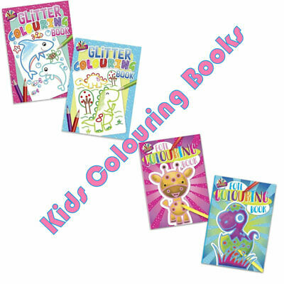 Super Kids Colouring Books - A4 Jumbo Foil Glitter Stickers Fun Activity Party