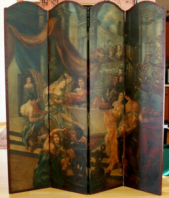 Vintage Four Panel Room Divider Huge Original Oil Painting on Leather Antique