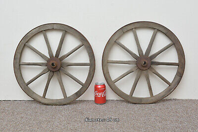 2x vintage old wooden cart wagon wheels wheel - 46 cm - FREE DELIVERY