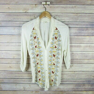 1f9688790454 TINY Anthropologie Embroidered Roll Up Sleeve Gauzey Blouse Top XS Extra  Small