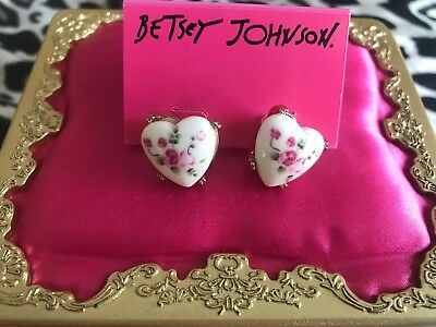 Betsey Johnson Vintage Bows White Ceramic Pink Painted Rose Heart Stud Earrings