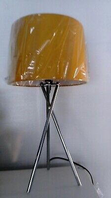 Ochre Mustard Yellow Tripod Table Lamp with Chrome Silver Base NEW