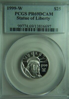 1999 Platinum American Proof Eagle $25 1/4oz PCGS PR69DCAM