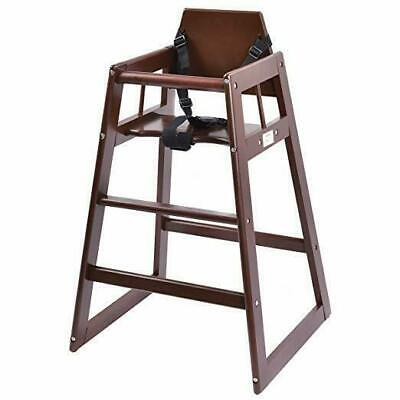 Baby High Chair Wooden Stool Infant Feeding Children Toddler Restaurant (Brown)