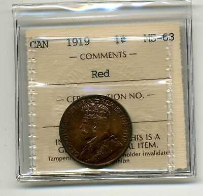 Canada 1C 1919 George V Large Cent MS63RD ICCS VE 852