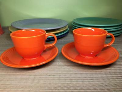 HLC Vintage Fiesta Ironstone Mango Red 2x Tea Cups/Saucers - Hard to Find