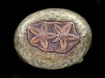 RK03173 *NOS* VINTAGE 1970s **STARFISH** ART SOLID BRASS BELT BUCKLE