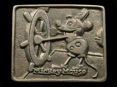 RI13174 VINTAGE 1970s **MICKEY MOUSE / STEAMBOAT WILLIE** SOLID BRASS BUCKLE
