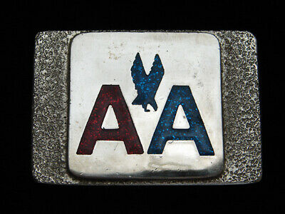 PG29142 VINTAGE 1970s **AMERICAN AIRLINES** AVIATION COMPANY CHROME BELT BUCKLE