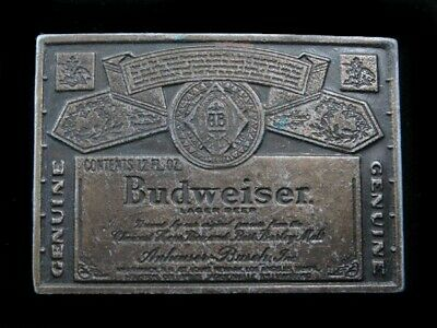 RK03103 VINTAGE 1970s **GENUINE BUDWEISER LAGER BEER** ADVERTISEMENT BELT BUCKLE