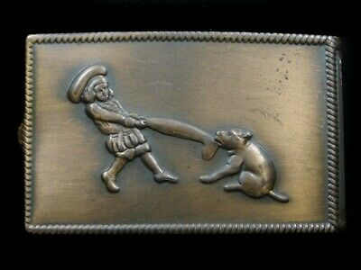 RK03122 VINTAGE 1970s **BUSTER BROWN AND TIGE** SHOES ADVERTISEMENT BELT BUCKLE