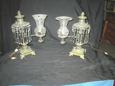 PAIR of ANTIQUE VICTORIAN ARGAND LAMPS  -  SIGNED