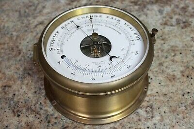 LUFFT MARINE BAROMETER - WOODEN & BRASS - GERMANY - SHIP'S 100