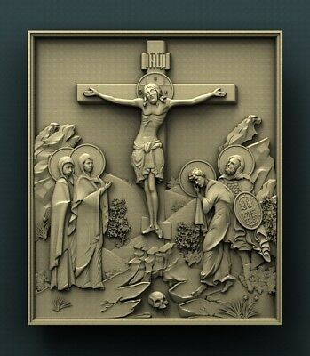 3d STL Model Relief for CNC Router Aspire _ (0500) Crucifixion of Jesus