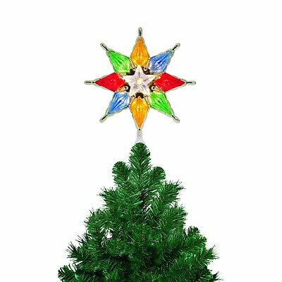 Led Light Up Color Changing Gold Star Christmas Tree Topper New