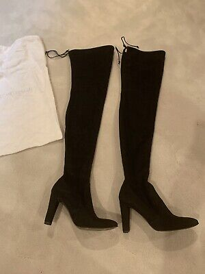dc7db46733892 Stuart Weitzman Sexy All Legs Thigh High Over The Knee OTK Black Suede Boots  8