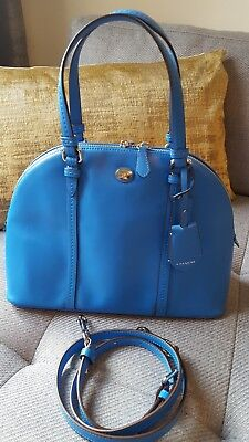 Coach Peyton Leather Cora Domed Satchel Bag in Blue Color