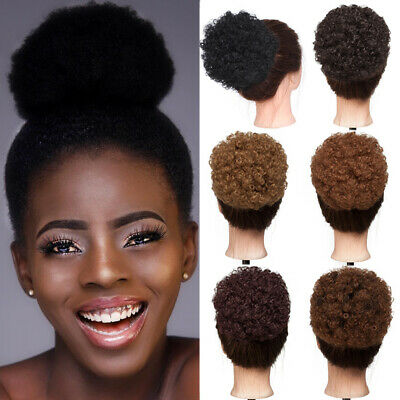 Afro Kinky Curly Ponytail Bun Black Women Synthetic Hair