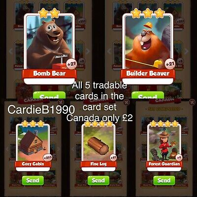 All 5 Tradable cards In Canada Coin Master trading cards !!Super Fast Dispatch!!