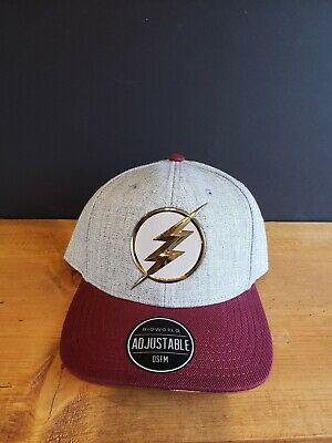 separation shoes 4bd91 d6440 The Flash Barry Allen Chrome Weld DC Comics Snap Back Curved Bill Hat Nwt