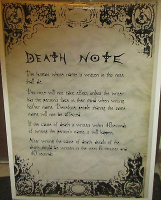 Death Note Poster Collectable Anime Rules Limited Production Run
